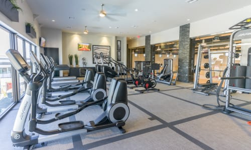 Modern fitness center at EVO Apartments in Las Vegas, Nevada