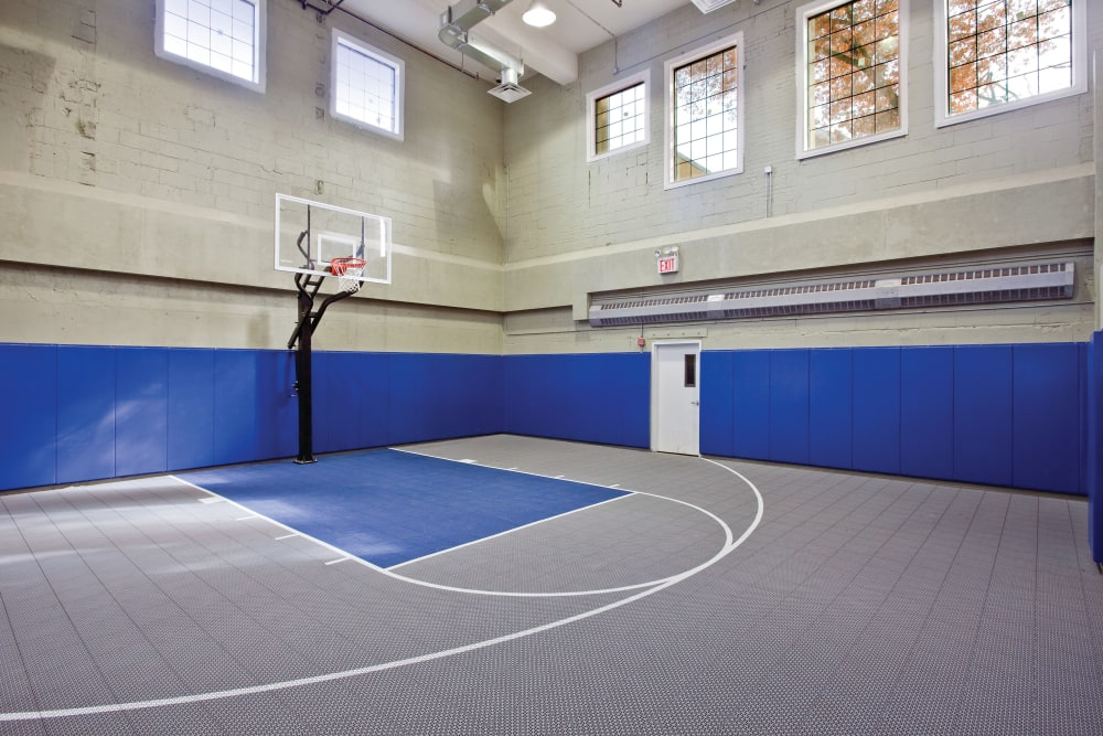 Indoor basketball facility at Markham Gardens in Staten Island, New York