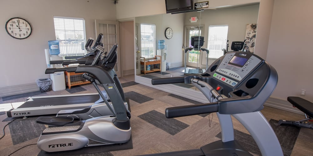 Fully equipped fitness center at The Remington Apartments in Wichita, Kansas