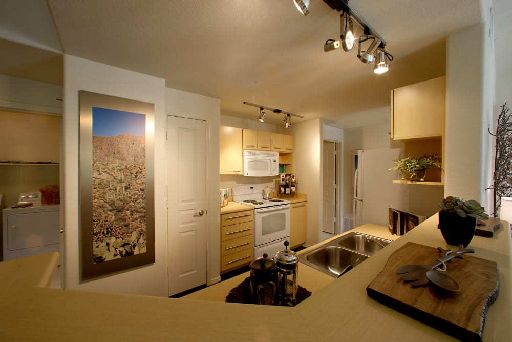 Model kitchen at Sage Luxury Apartment Homes in Phoenix, Arizona