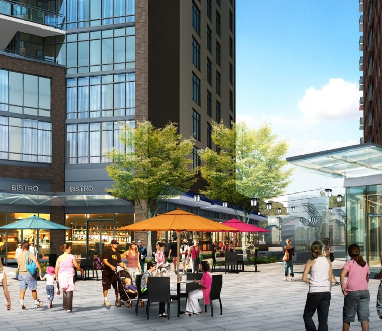 Rendering of plaza level exterior with anchor restaurant at Gallery Bethesda II in Bethesda, MD