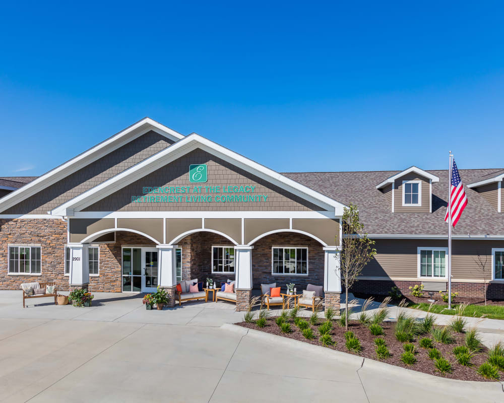 Main entrance to our community at Edencrest at The Legacy in Norwalk, Iowa.