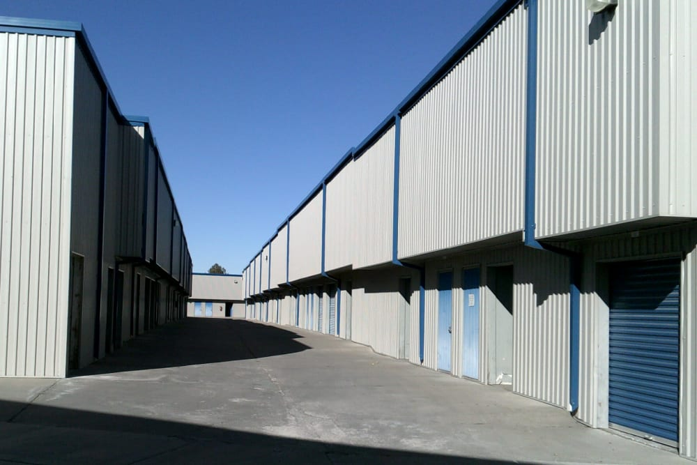 Exterior storage units with drive-up access at A-American Self Storage in Reno, Nevada