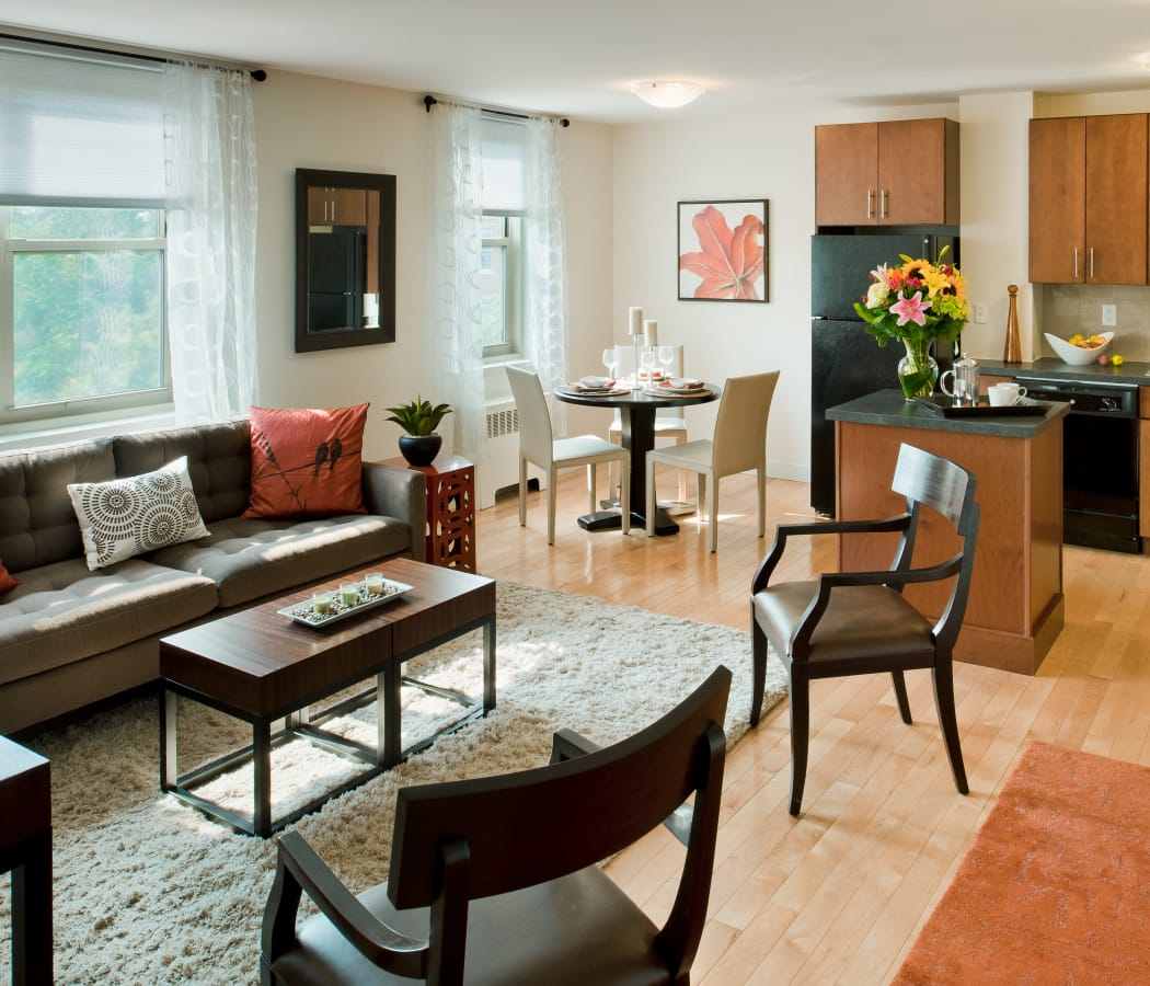 Beautiful open-concept floor plan in model home at Camelot Court in Brighton, MA