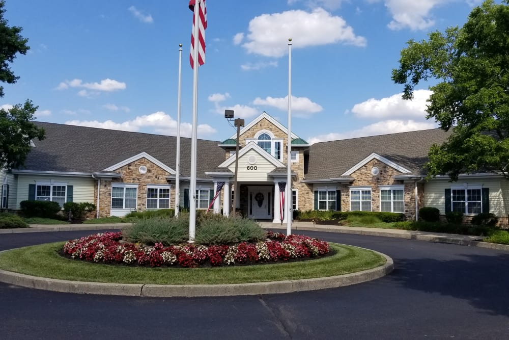Front entrance to Floral Creek Alzheimer's Special Care Center in Yardley, Pennsylvania