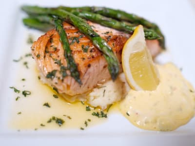 Buttered Salmon Served Mash and Asparagus at The Terraces at Park Marino