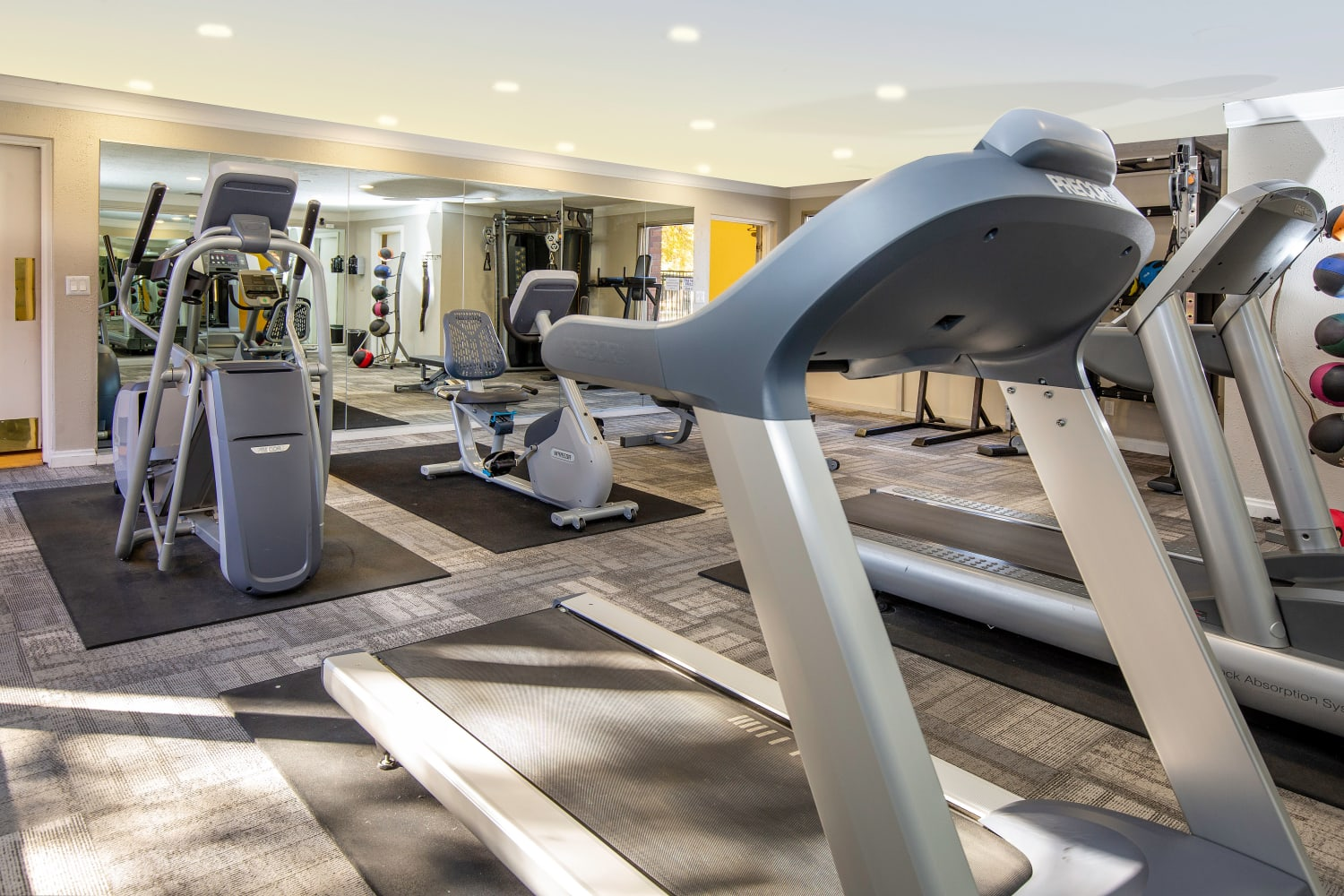 Fitness center at Wasatch Club Apartments in Midvale, Utah
