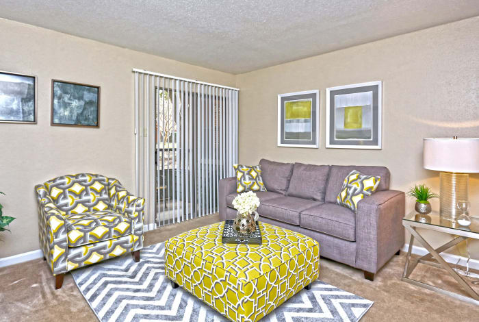 Living room at Promontory Point Apartments in Austin, Texas