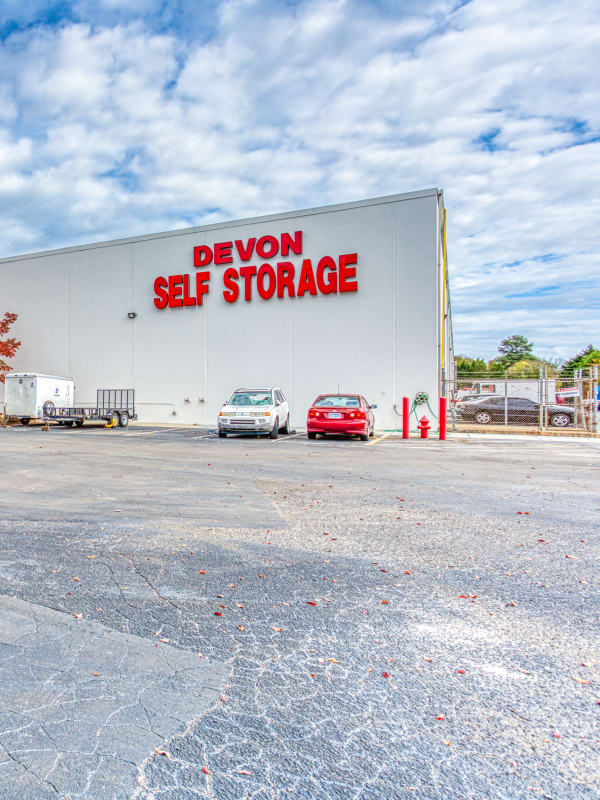 Large open driveways through our self storage units in Charlotte, North Carolina at Devon Self Storage