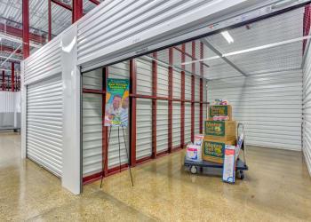 View of exterior storage units at Metro Self Storage in Addison, Illinois
