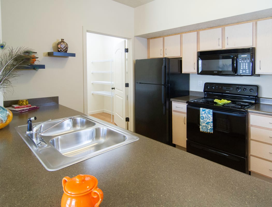 Kitchen at Wilshire Place Apartments