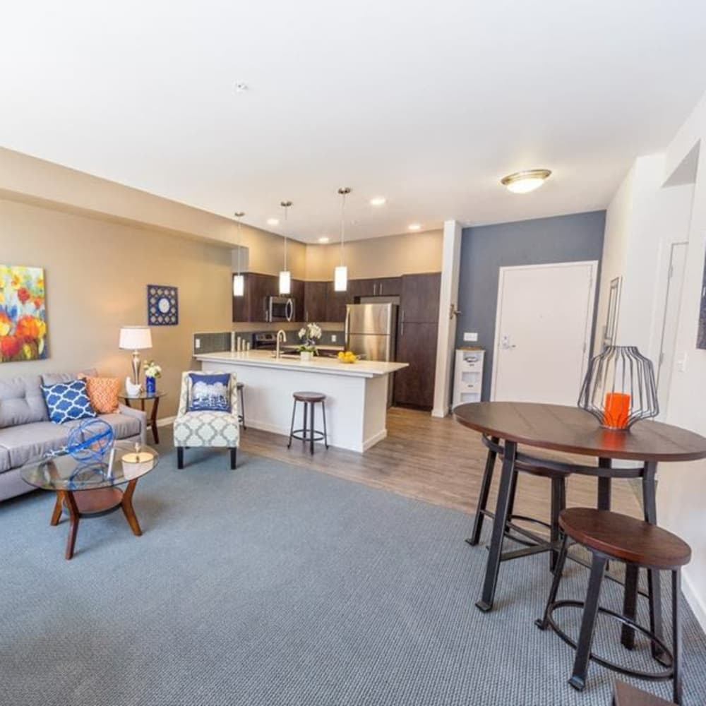 Dining room and living room at South Block Apartments in Salem, Oregon