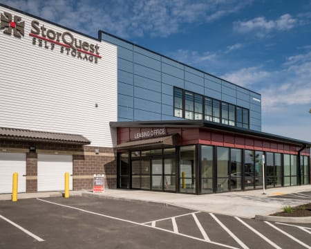 View of the facility at StorQuest Self Storage in Redmond, Washington.