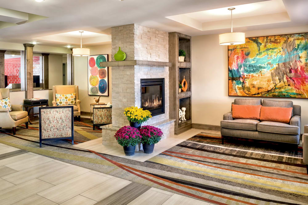 The cozy lobby at Aspired Living of Prospect Heights in Prospect Heights, Illinois.