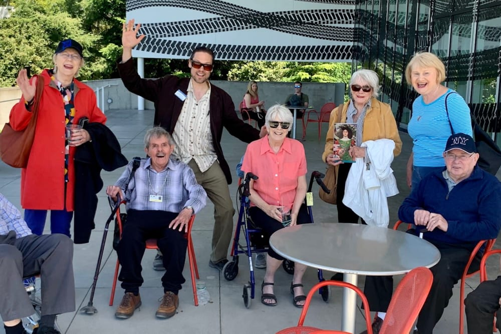 Residents on an outing near Merrill Gardens at First Hill in Seattle, Washington.