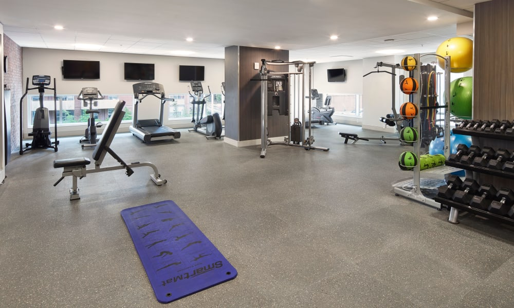 Beautiful state-of-the-art fitness center at 19Twenty Apartments in Halifax, Nova Scotia