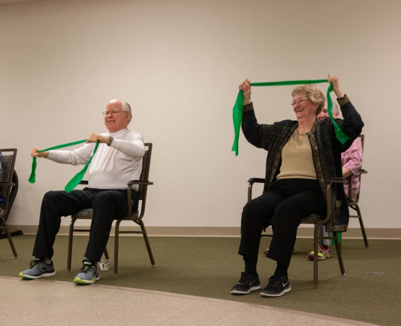 Residents in a wellness class at Aurora on France in Edina, Minnesota.