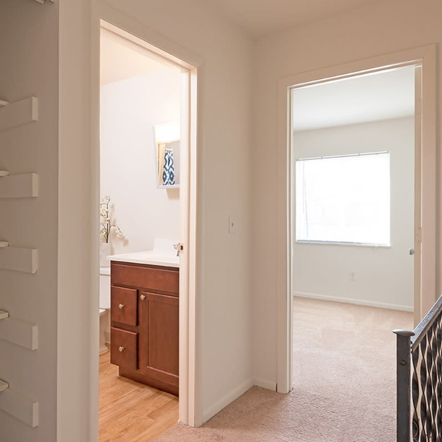 Hallway in a unit at Maple Oaks Estates in Middletown