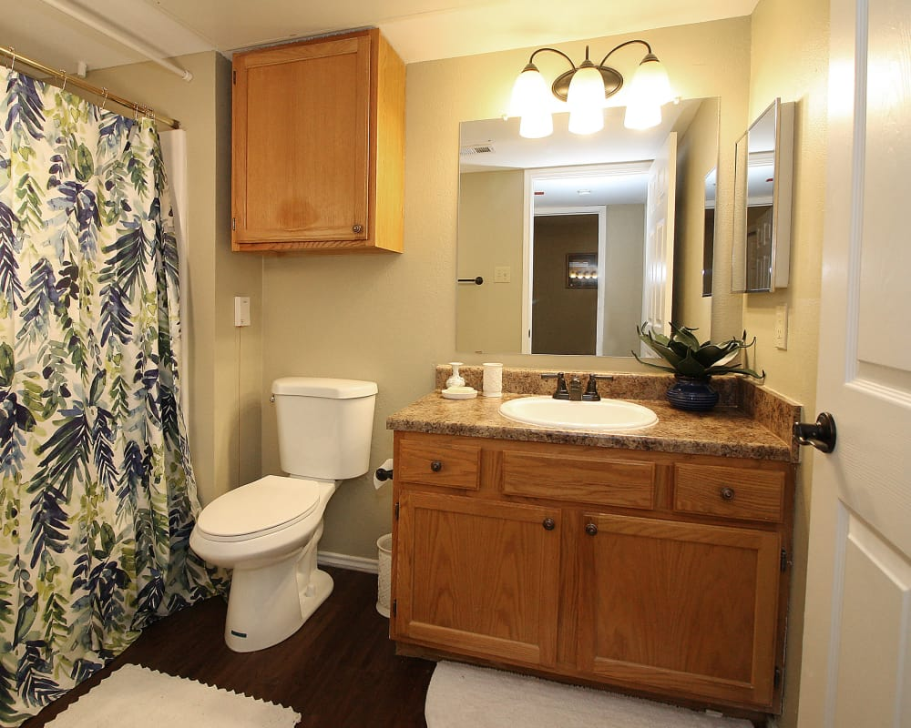 Model bathroom at West Fork Village in Irving, Texas