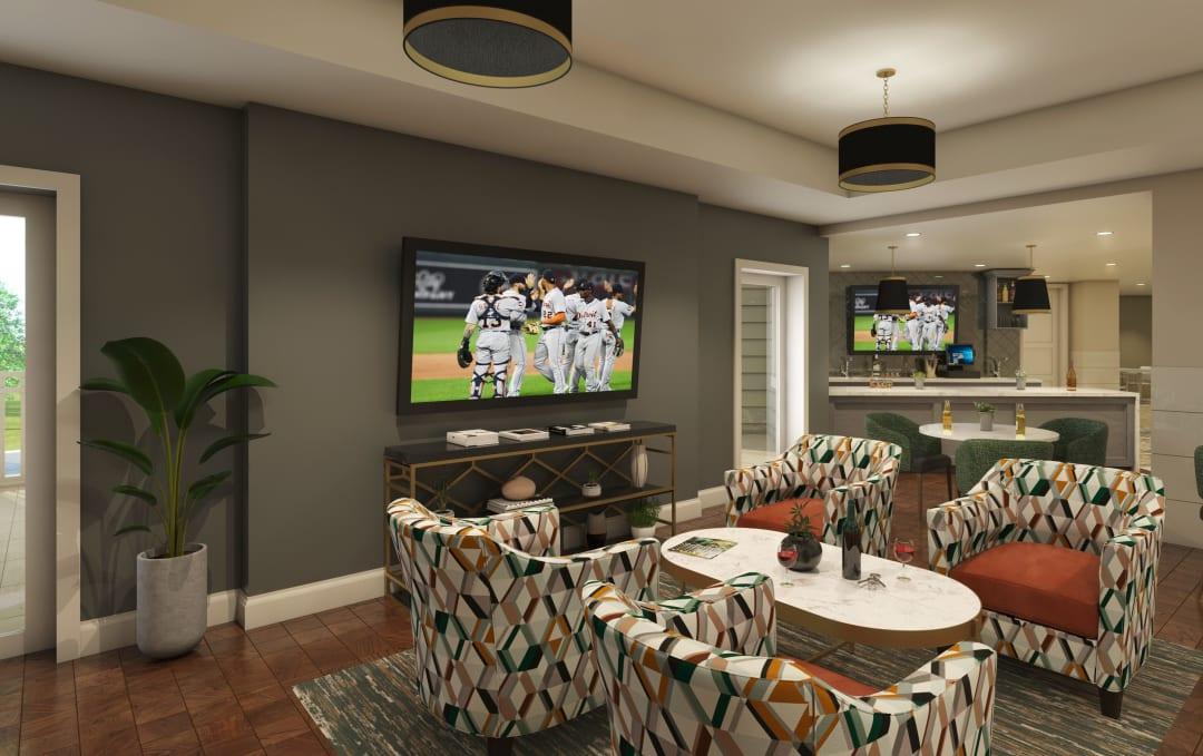 Resident lounge area at Anthology of Farmington Hills in Farmington Hills, Michigan