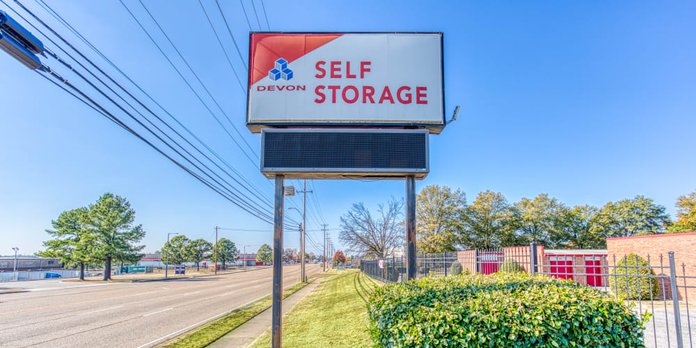 Sign in front of Devon Self Storage in Memphis, Tennessee