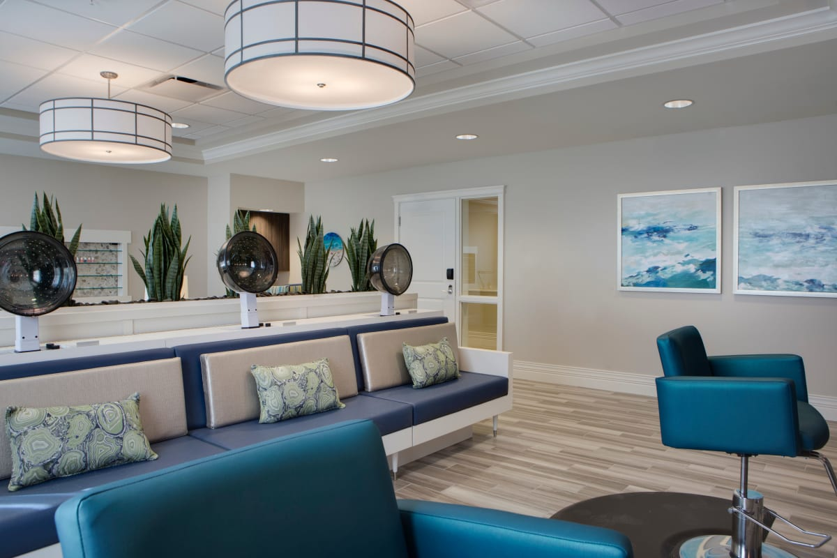 On-site salon at Beach House Assisted Living & Memory Care at Wiregrass Ranch in Wesley Chapel, Florida