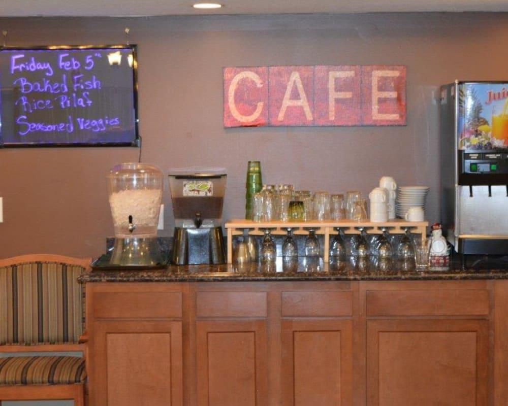 Self-service beverage cafe at Courtyard Estates at Hawthorne Crossing in Bondurant, Iowa.
