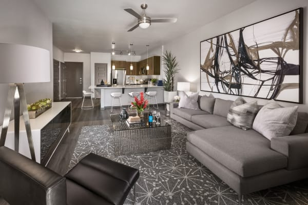 Living room and kitchen combo at Aviva in Mesa, Arizona