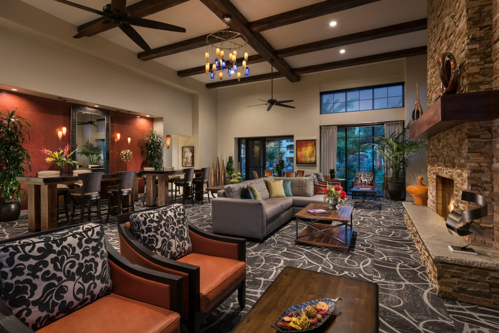 Contemporary decor in resident clubhouse at San Travesia in Scottsdale, Arizona
