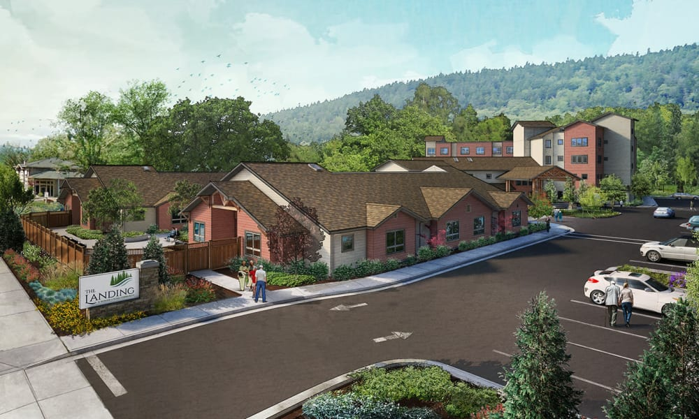 Rendering of entrance at The Landing a Senior Living Community in Roseburg, Oregon