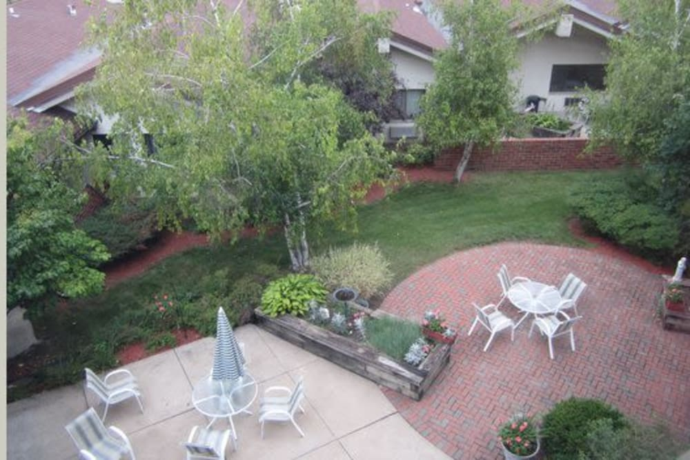 Lush garden area at Avalon Assisted Living Community in Fitchburg, Wisconsin