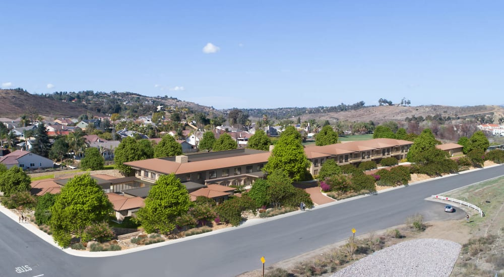 Exterior view of building and nearby street at Carefield Living Bonsall in Bonsall, California.