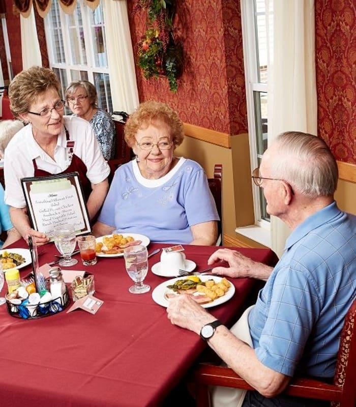 Residents ordering food at Deer Crest Senior Living in Red Wing, Minnesota