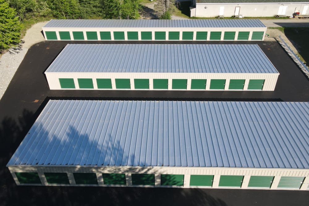 Storage units from above at 603 Storage - Belmont in Belmont, New Hampshire