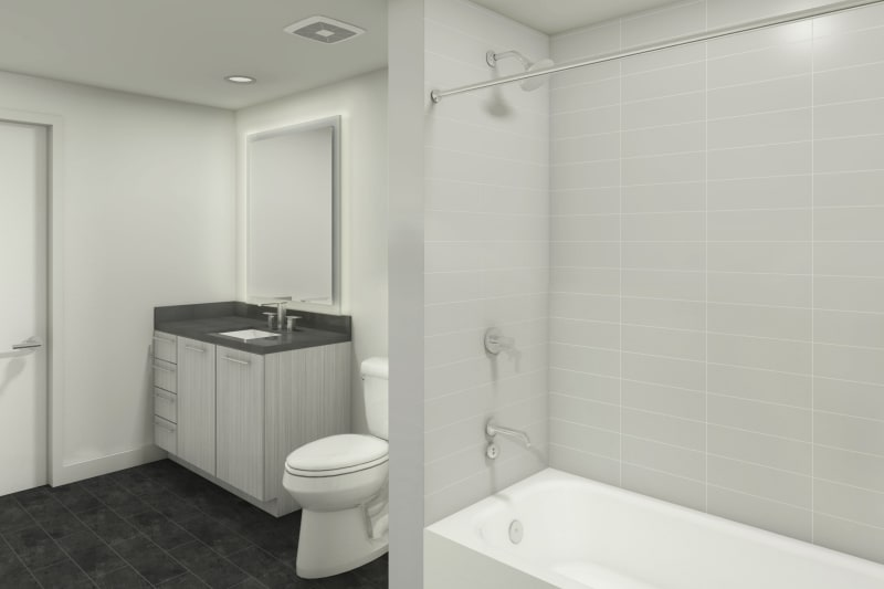 Enjoy a spacious bathroom at 1400 Fig apartments in Los Angeles