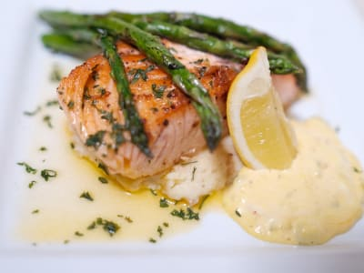 Buttered Salmon Served Mash and Asparagus at The Gardens at Park Balboa