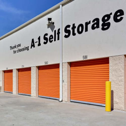 Orange roll up doors at one of our A-1 Self Storage facilities