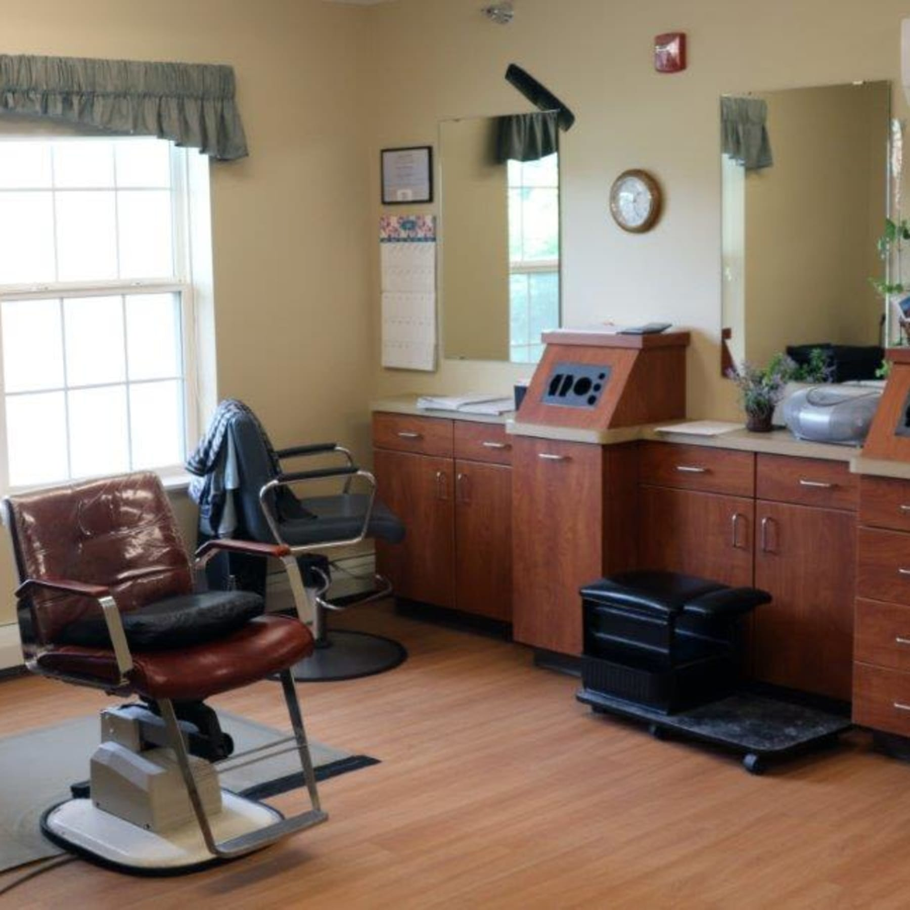 On-site hair salon at Keelson Harbour in Spirit Lake, Iowa.