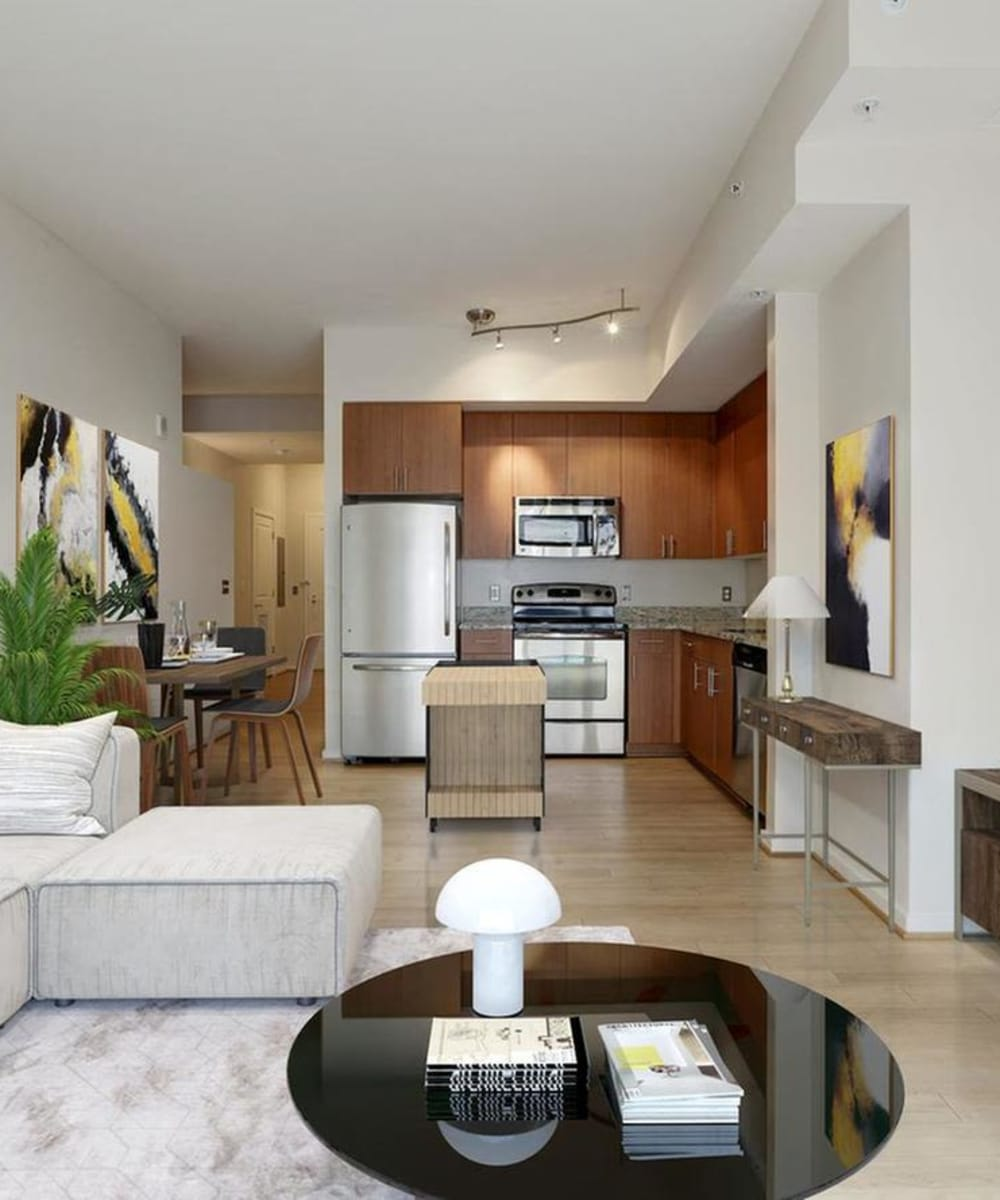 A spacious and luxurious kitchen with stainless-steel appliances at Solaire 1150 Ripley in Silver Spring, Maryland