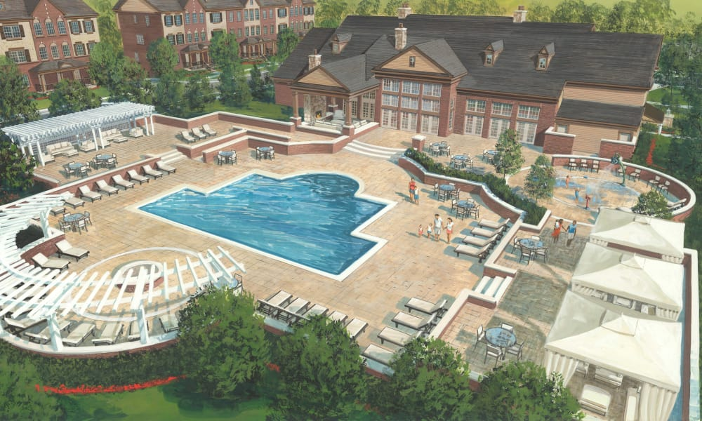 Aerial view of the swimming pool at Park West