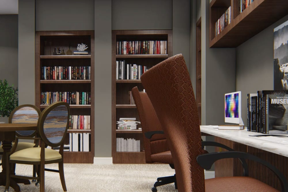 Architectural rendering of library at Harmony at Kent in Dover, Delaware