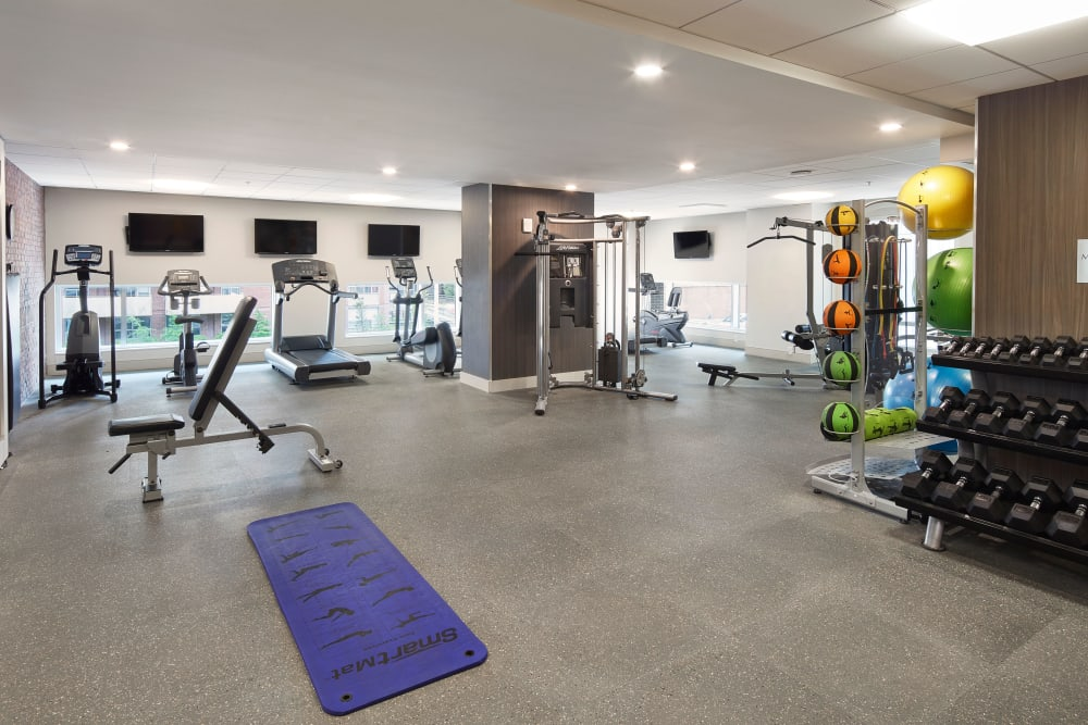 Fully equipped fitness center at 19Twenty Apartments in Halifax, Nova Scotia
