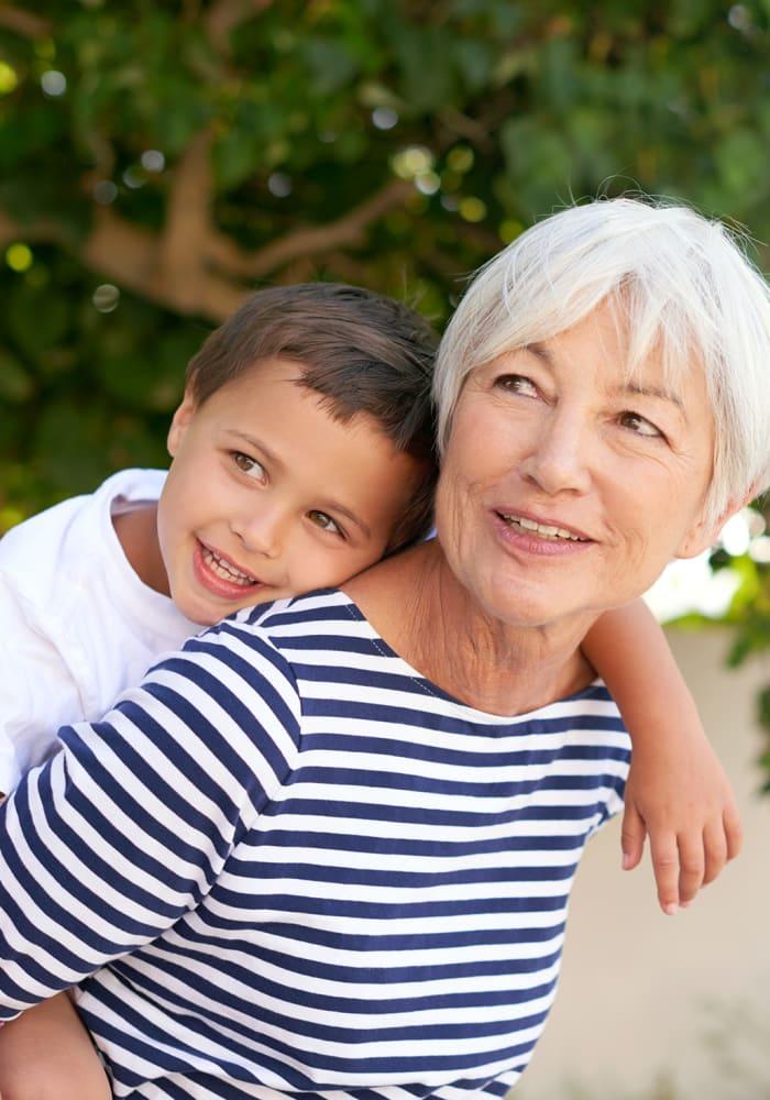 Women and grandson taking a walk near at Logan Creek Retirement Community in Mount Vernon, Washington