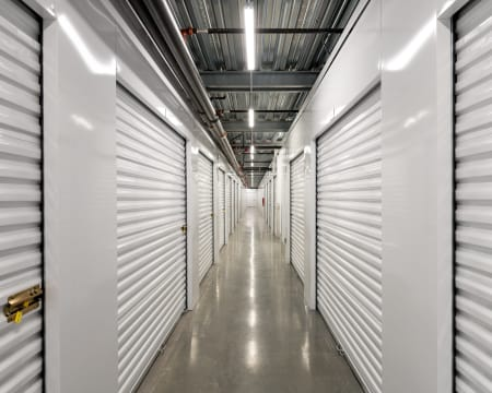 Hallway of interior units at StorQuest Self Storage in Redmond, Washington