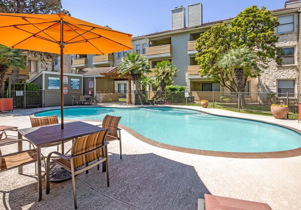 View of gorgeous pool at Turtle Creek Vista Apartments in San Antonio, Texas