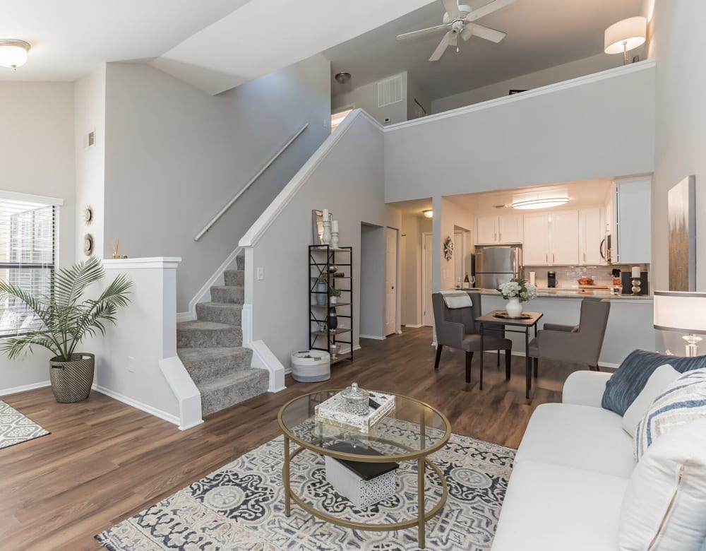 Living and dining area in two-story unit at Eagle Rock Apartments at Columbia in Columbia, Maryland