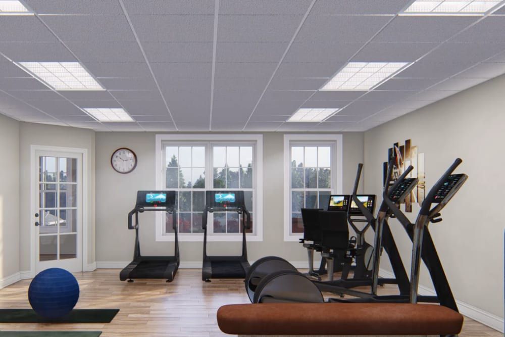 Architectural rendering of fitness room at Harmony at Kent in Dover, Delaware
