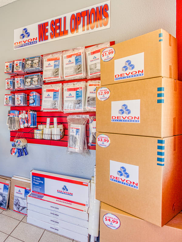 Variety of packing and moving supplies at Devon Self Storage in Apple Valley, California
