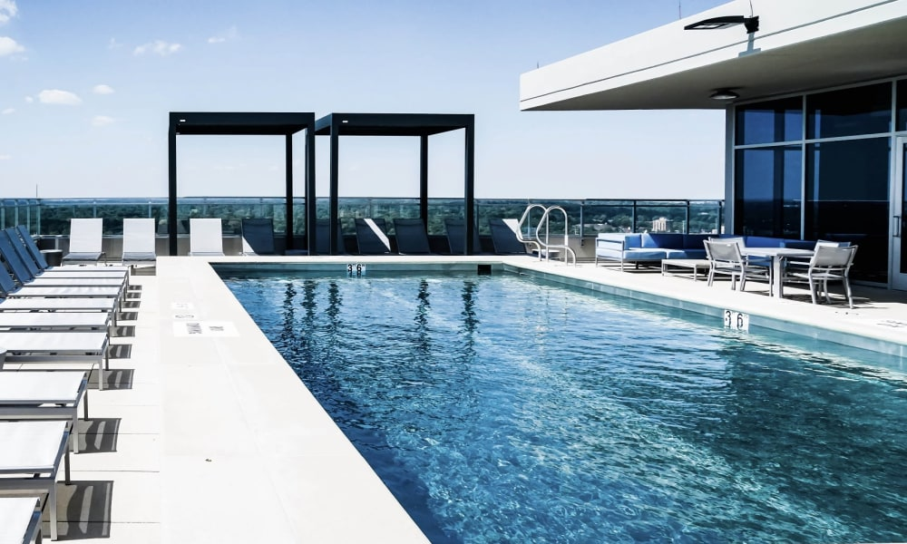 Stunning resort-style swimming pool at Two Twelve Clayton in Clayton, Missouri