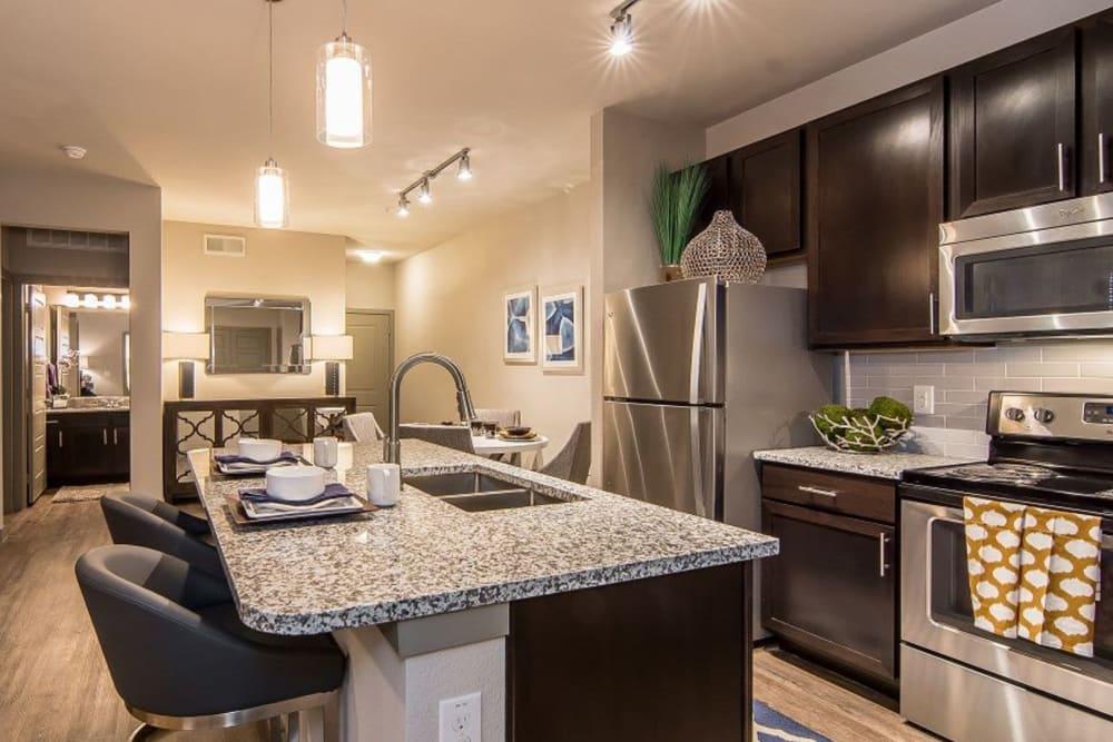 Gourmet kitchen at Enclave at Westport in Roanoke, Texas
